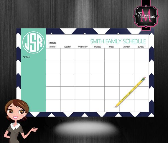 Monogrammed Monthly Desk Calendar Personalized Desk Calendar Planner Desk Pad Custom Monogrammed Choose Your Colors On Etsy Custom Calendar Desk Calendars