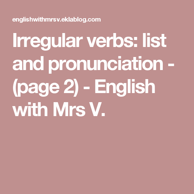 irregular verbs list with pronunciation pdf