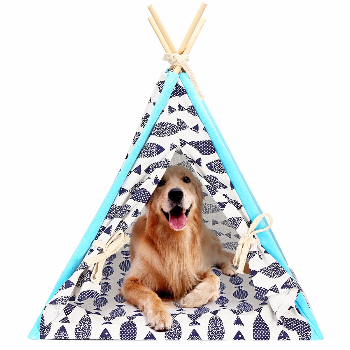Pet Teepee Tent for Tiny Dogs Puppy Cat Bed Portable Print Fish/Paris/Forest Canvas Dog Cute House Indoor Outdoor Tent Small Medium Pet Teepee with Floor Mat 24inch -   18 diy Dog tent ideas
