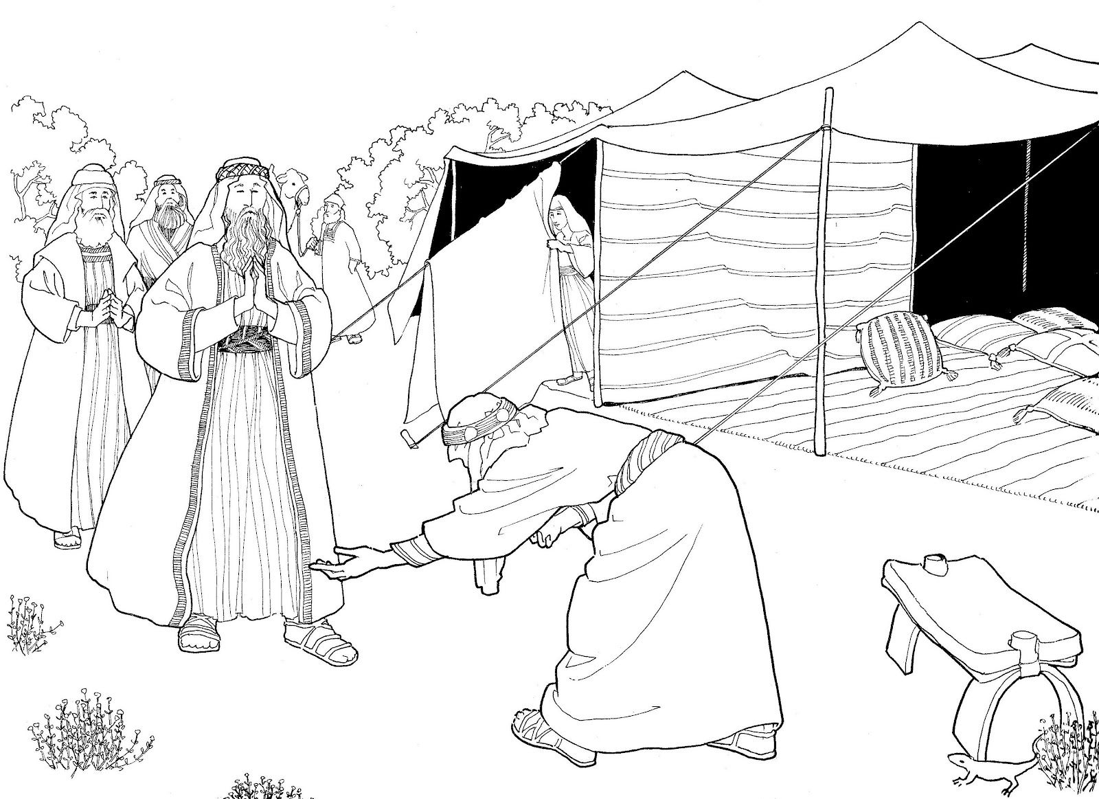 Abraham And The Three Heavenly Visitors Abraham And Sarah Sunday School Coloring Pages Bible Coloring Pages