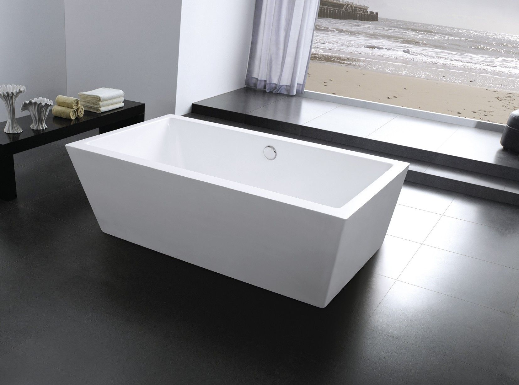 Charming AQUA DECOR Paris 60 Inch Modern Free Standing Bathtub   White   Side View In