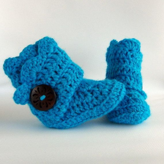 Teal Crochet Shell Wrap Boots by babybuttercup, $22.00