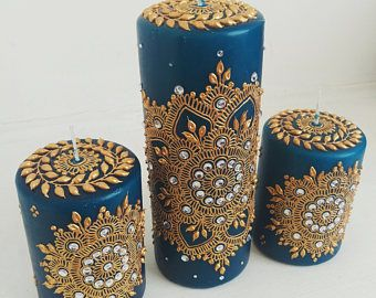 Mehndi For Candles : Henna candles キャンドル etsy