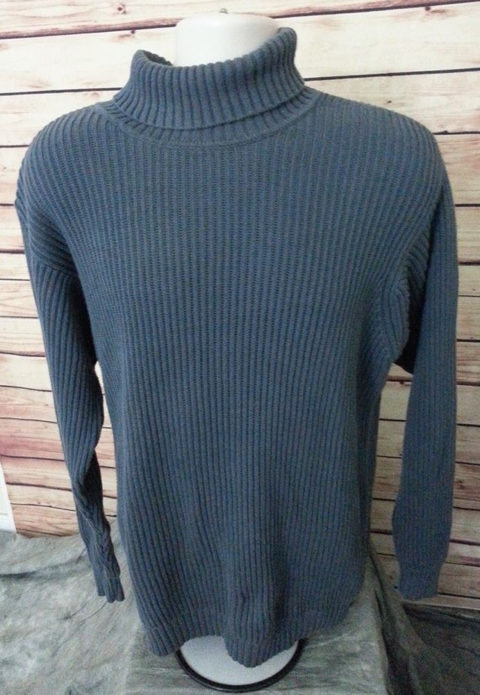 L.L. Bean ribbed turtleneck sweater mens size L 100% cotton casual ...