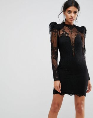 ab9914c30 ASOS Puff Shoulder Lace Mini Dress