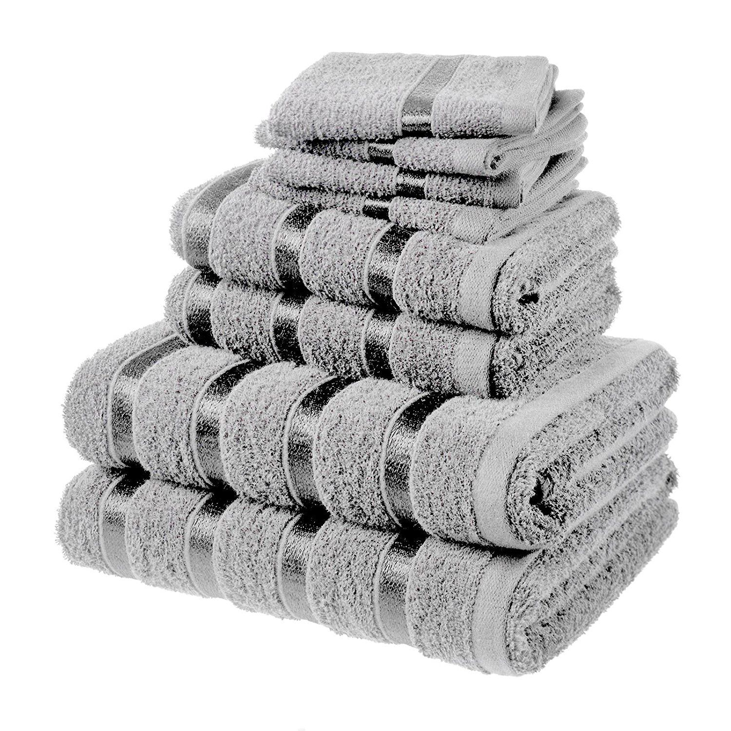 Hotel Luxury Silver Grey Egyptian Cotton Towel Bale Set Face Hand Bath Towel