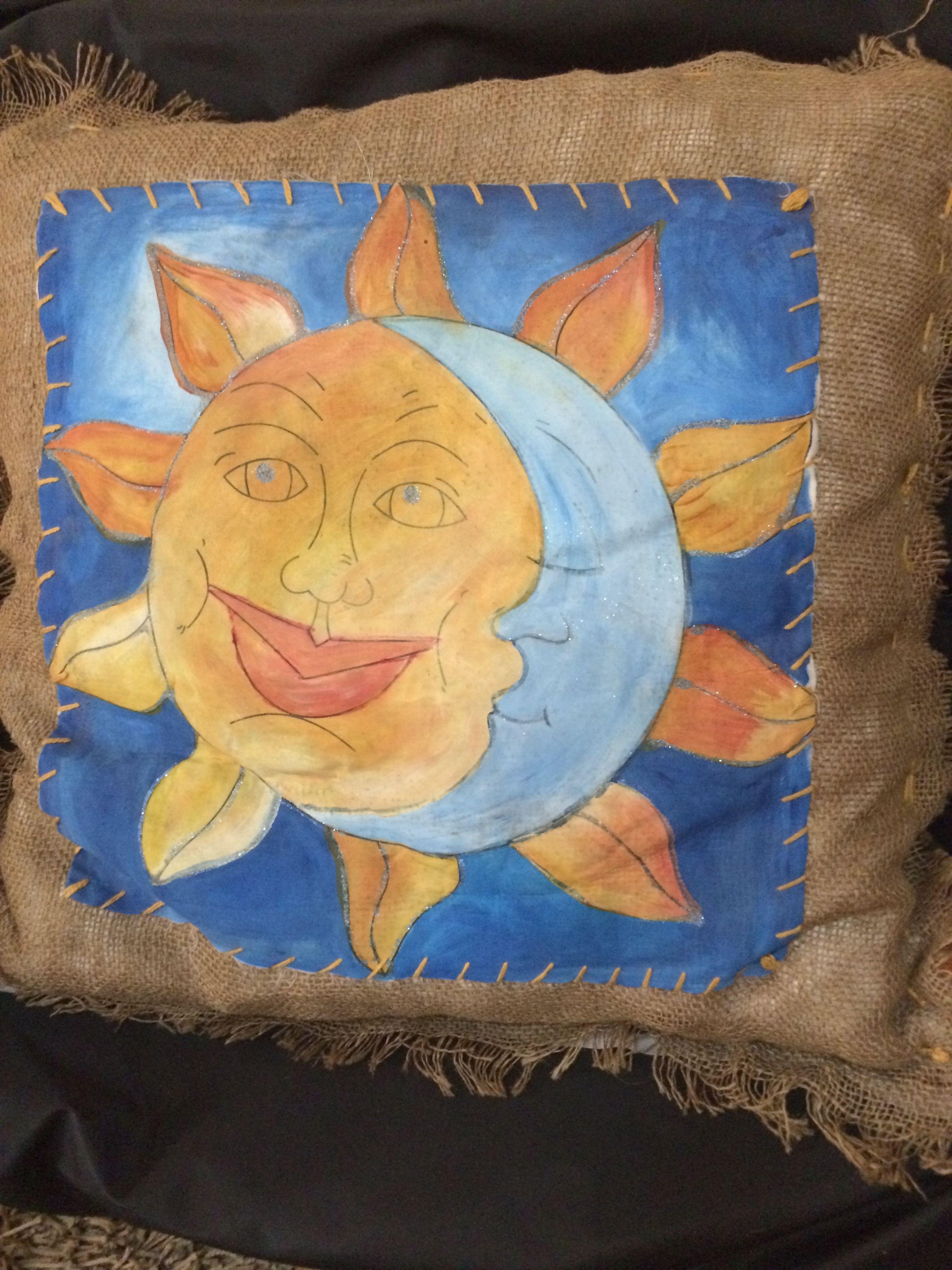 Almofada em Juta/serapilheira e pintura à mão