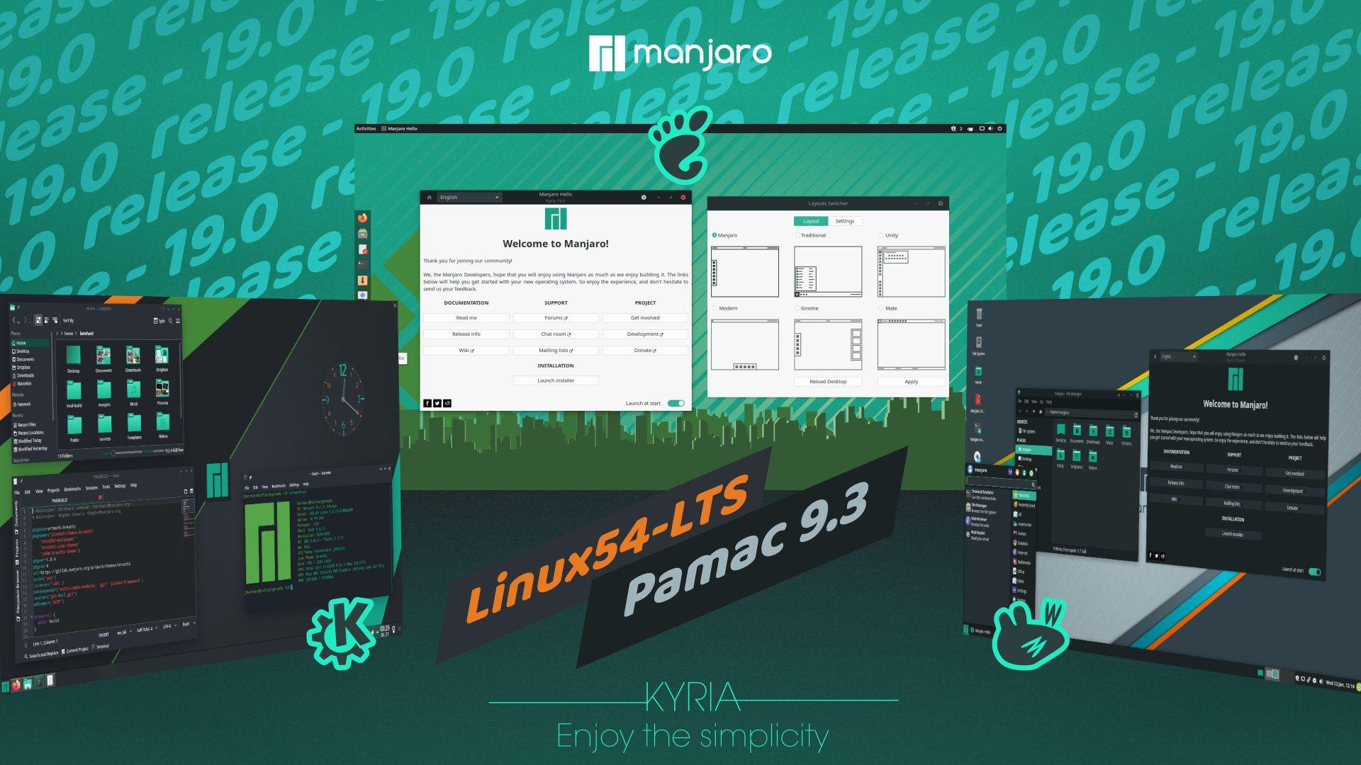 Manjaro 19.0 Kyria released (Gnome, KDE, XFCE, Architect