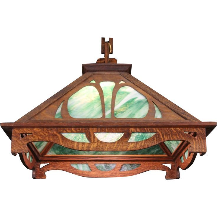 Arts crafts mission oak 1905 stained glass pendant