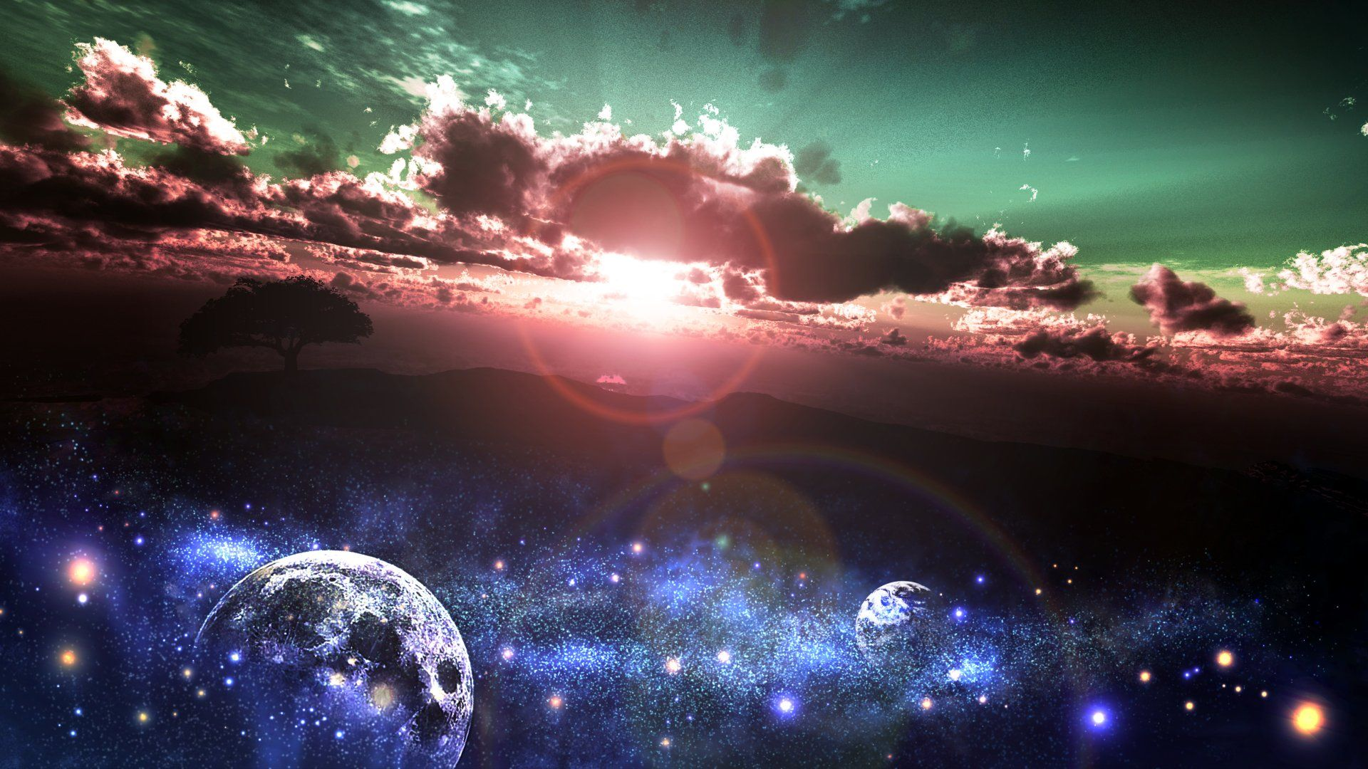 Anime Original Original Anime Space Sunrise Planet Sunbeam Cloud Sky Stars Blue Black Tree Wallpaper Fen Shuj Priroda Kosmos Anime space wallpaper 4k