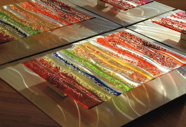 Wall Art Ideas Design : Fused Brushed Glass Wall Art And Decor ...