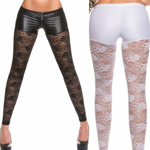 85e912f15423b Women's Black/White Lace Wet Look Metallic Leggings Costume Clubwear Tight  Pants