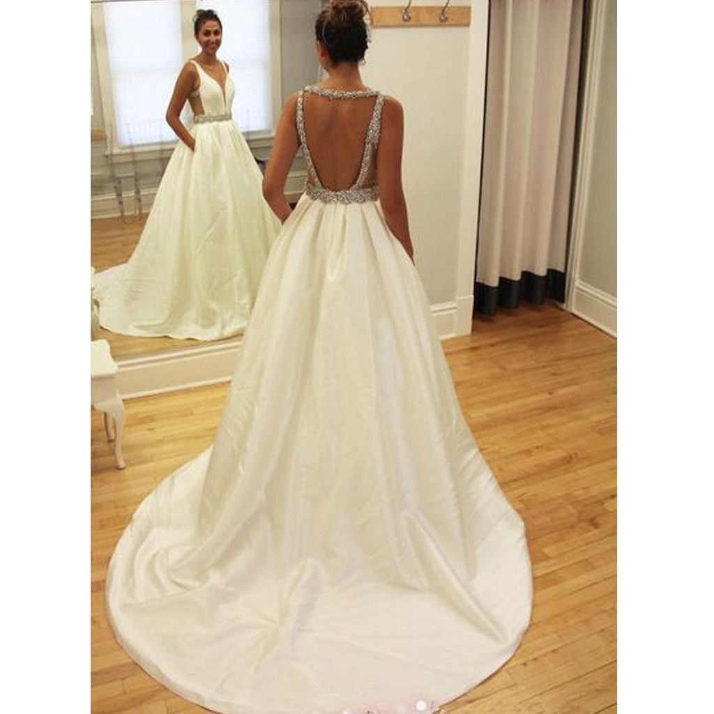 Hot sale backless junior sparkly stain charming inexpensive wedding