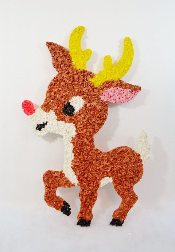 Rudolph Reindeer Melted Plastic Popcorn Oatmeal Vintage Fused Plastic Christmas Decoration Red Nose Brown White 1970's
