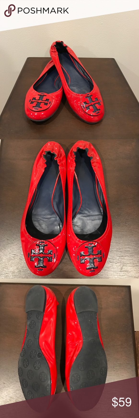 Red Patent Leather Tory Burch Flats Size 9.5 Beautiful EUC Tory Burch Flats!! These shoes are in great condition. The inside does show some sings of wear but the outsides are great. There is only the scuff on one shoe as shown in the last picture.? If you have any questions please ask. I welcome offers 💕 Tory Burch Shoes Flats & Loafers
