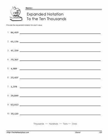 Expanded Notation 10 000s Expanded Notation Expanded Form Worksheets Number Sense Worksheets Kindergarten Expanded form worksheets 5th grade
