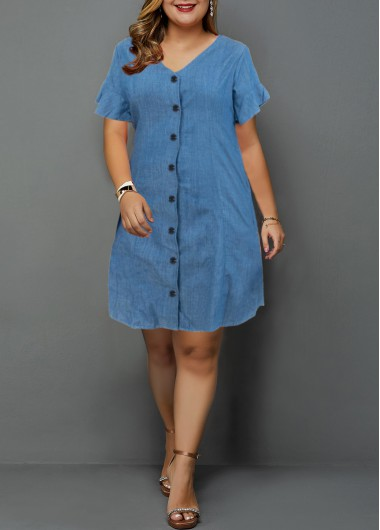 Denim V Neck Button Up Plus Size Shirt Dress | liligal.com - USD $31.71 -  Denim V Neck Button Up Plus Size Shirt Dress | liligal.com – USD $31.71  - #Button #Denim #Dress #liligalcom #neck #plussizedresses #Shirt #Size #USD