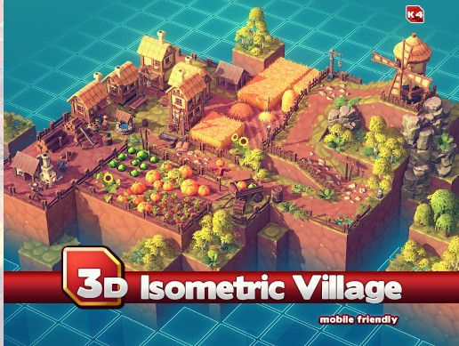 Isometric 3d - village art set The package consists 230