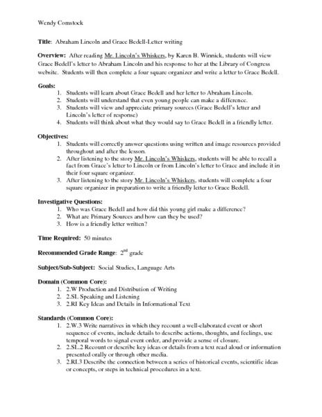 Abraham Lincoln And Grace Bedell Letter Writing Lesson Plan For