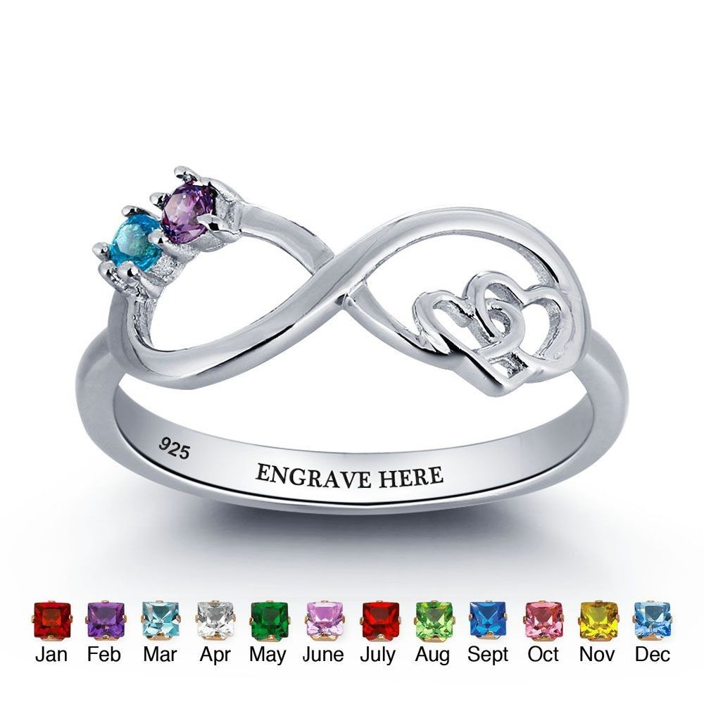 Birthstone Rings Mothers Rings 925 Sterling Silver Personalized