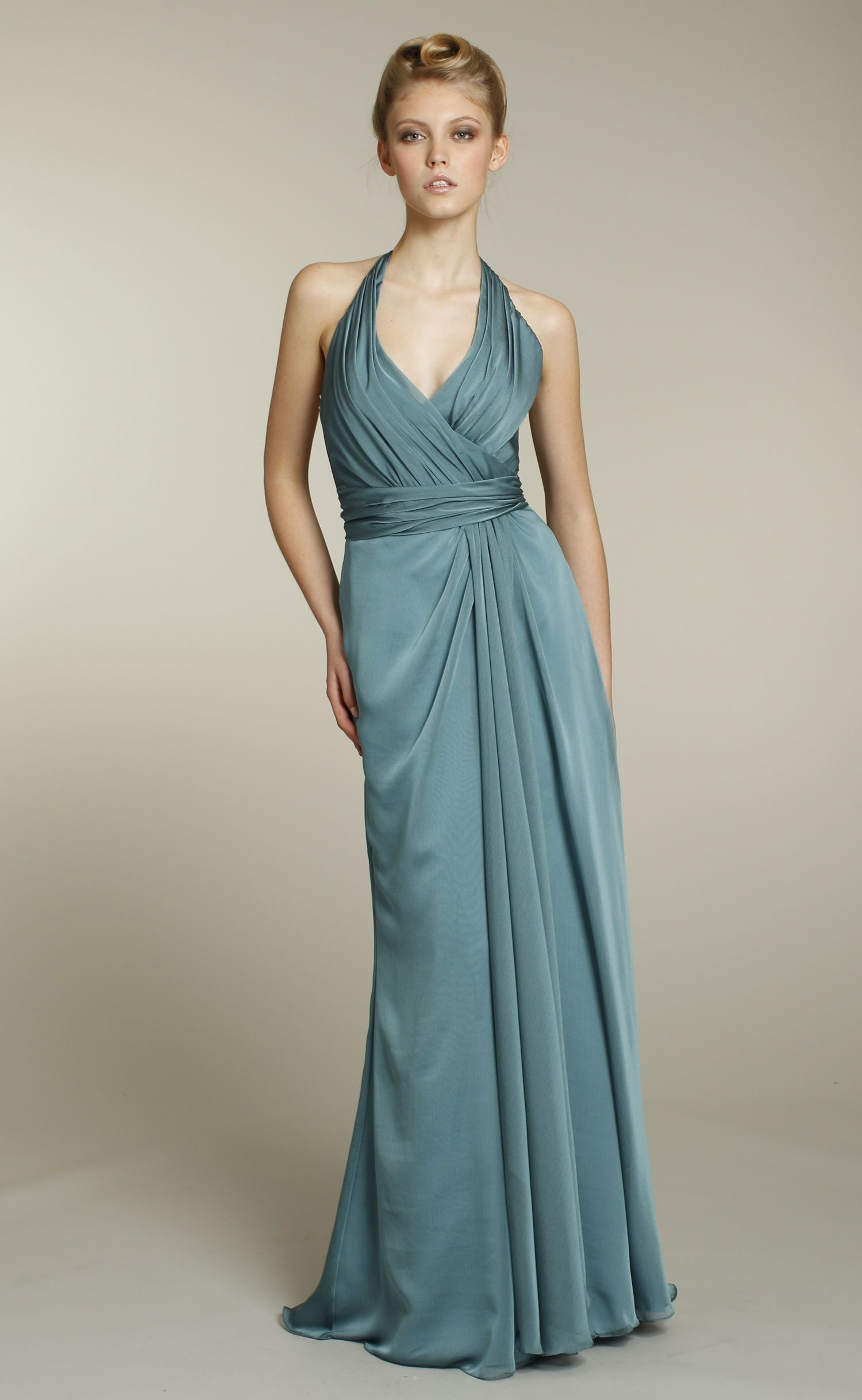 bridesmaids-dress-formal-long-teal-halter-neckline-lazaro-2011-5176 ...