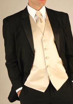 Black And Ivory Wedding Tux Tuxedo With Champagne Vest Tie