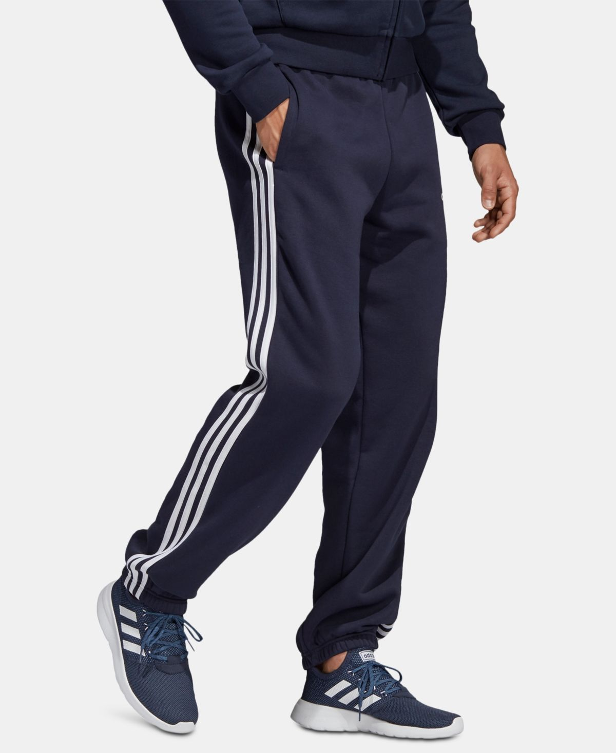 adidas Men's Essentials 3 Stripe Fleece Pants & Reviews