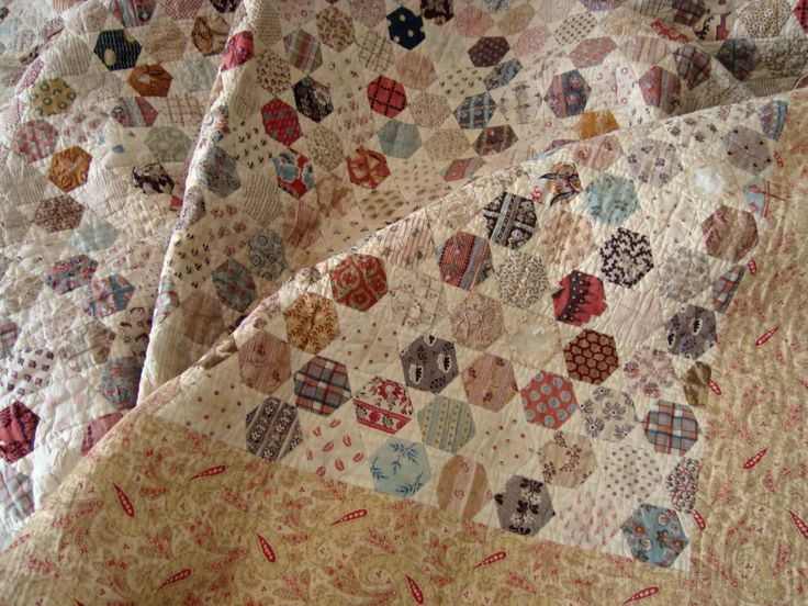 Image result for antique hexagon quilt | stitchery | Pinterest ... : antique patchwork quilts - Adamdwight.com