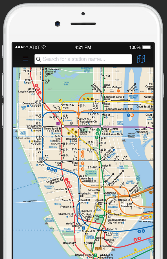 Nyc Subway Map App Iphone.The New York Subway App For Ios Uses The Official Mta Licensed Map