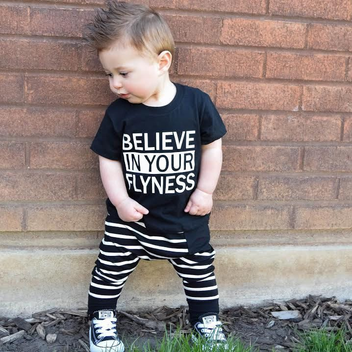Believe In Your Flyness Hipster Baby Clothes Toddler Boy Shirts