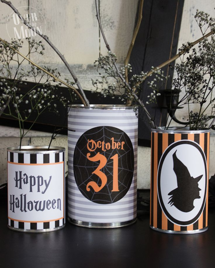 Halloween Tin Can Wrappers - makes a perfect centerpiece or table - when should you decorate for halloween