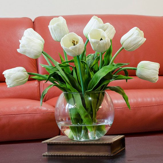Home Decor Fake Flowers Part - 42: Real Touch Tulip Arrangement With White Tulip Flowers Artificial Faux In  Round Vase For Home Decor