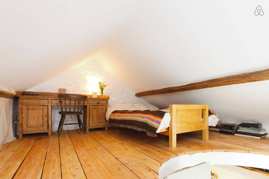 loft room double bed best as single given low roof desk shed