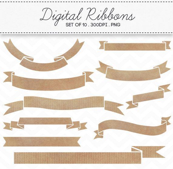 Ribbon brown. Digital kraft paper ribbons