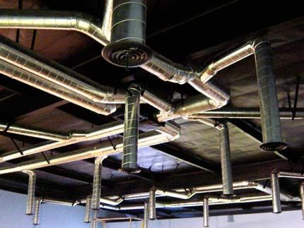 exposed commercial ducting for an office warehouse in the San ...