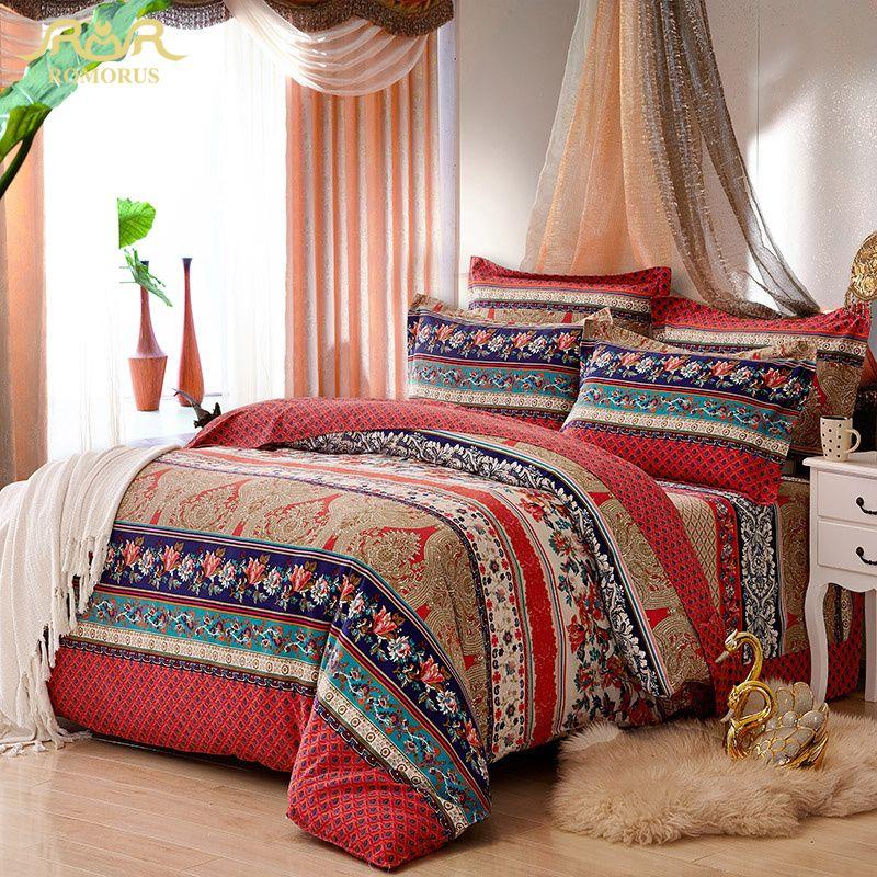 aliexpress com acheter romorus 100 coton boheme bande ensemble de literie pour automne et hiver reine double king size linge de lit draps housse de