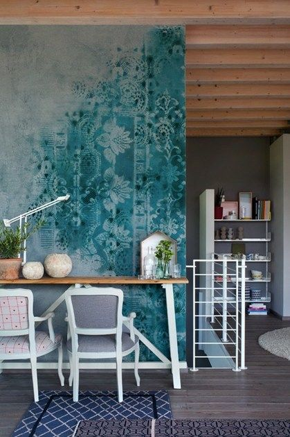 Wallpaper with floral pattern brush by walldecò 别墅豪宅住家 pinterest wallpaper floral and walls