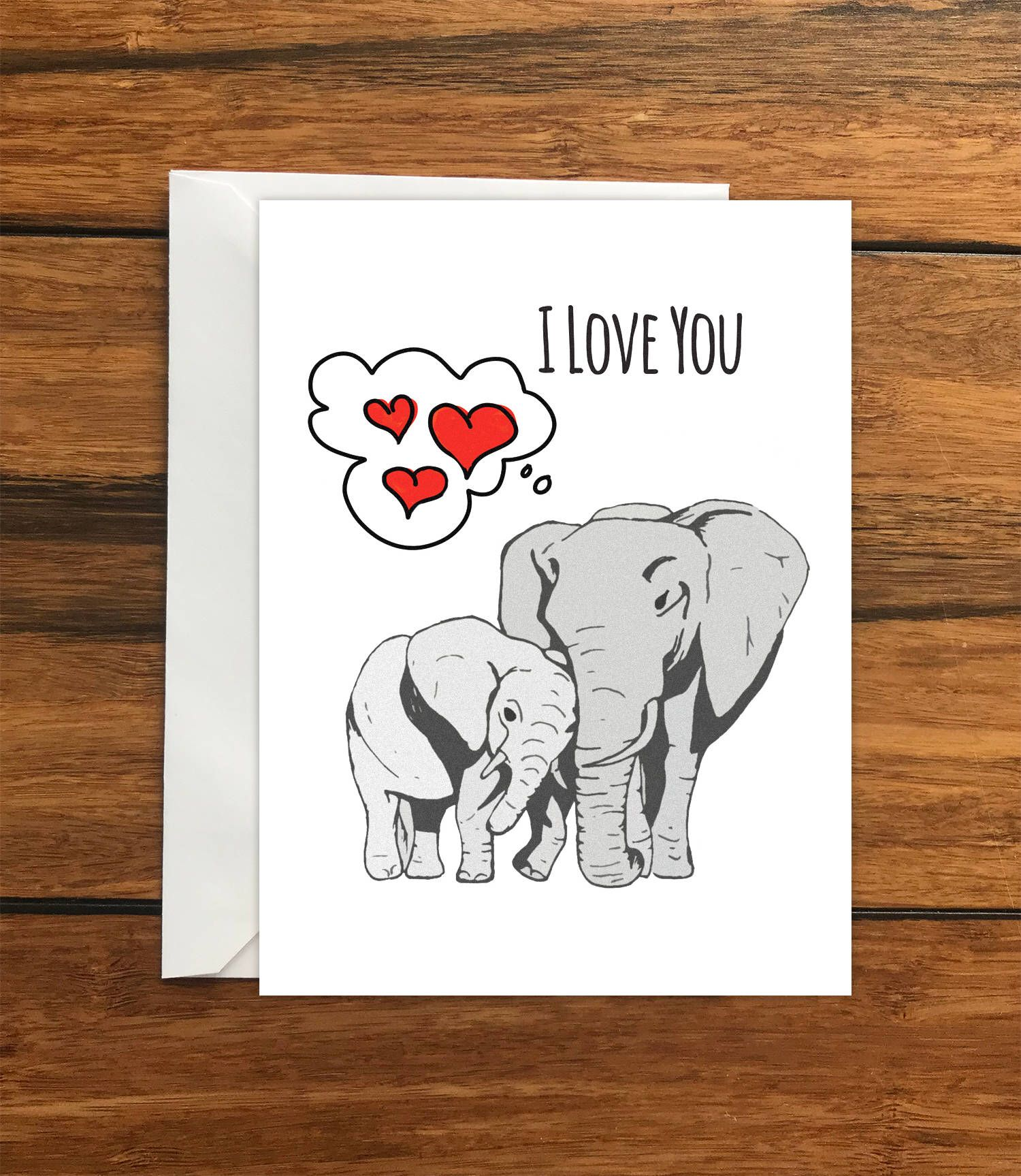 I Love You Elephants Greeting Card A6 One Card And Envelope