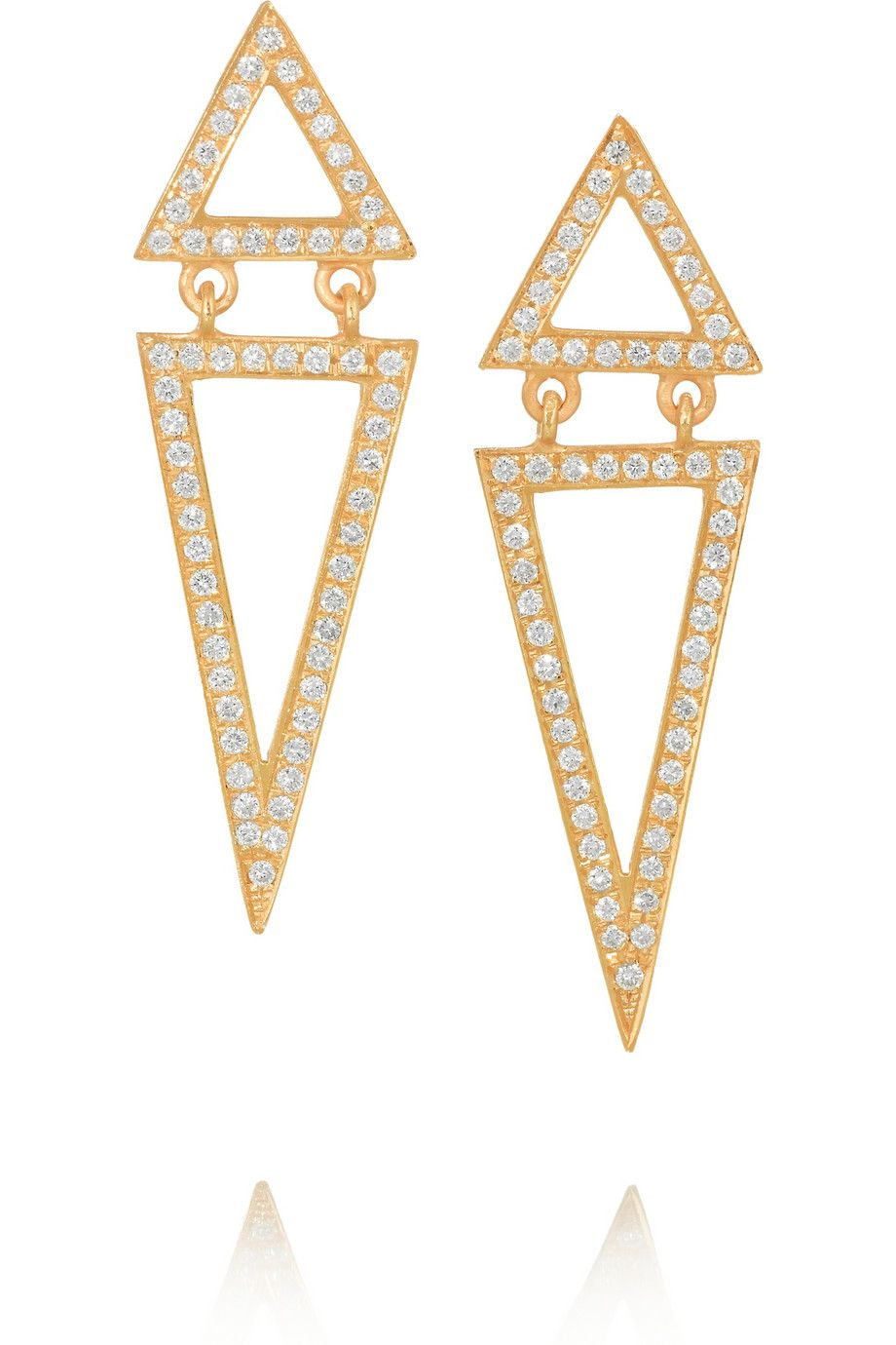 Halleh | 18-karat gold diamond triangle earrings | NET-A-PORTER.COM