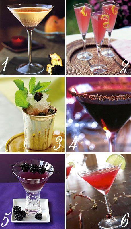 Oscars Menu Cocktails // 1 Cookies 'n' cream cocktail / 2 Blush punch / 3 Blackberry-bourbon julep / 4 Hazelnut truffles cocktail / 5 Blackberry-poblano margarita / 6 Pomegranate cocktail