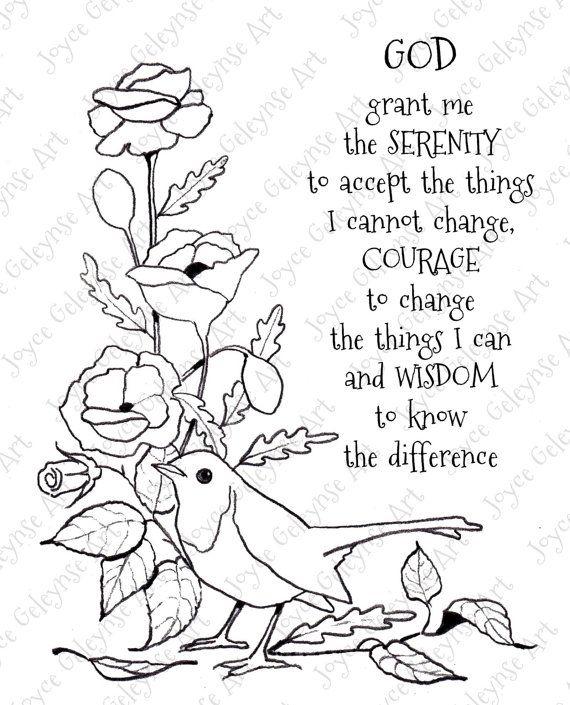 Digi Stamp Clip Art Serenity Prayer Bird Flowers You Color Original