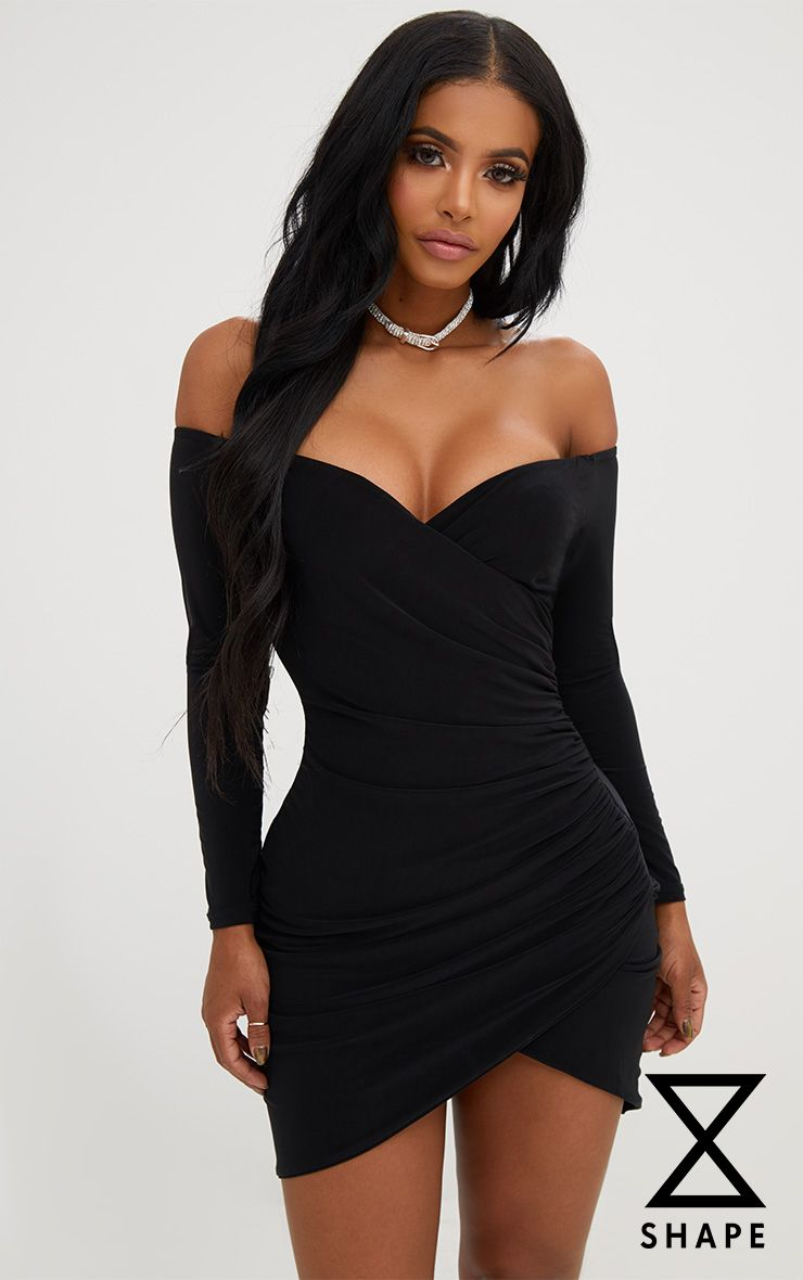 ee12282f9fe5 Shape Black Ruched Bardot Bodycon Dress | Cute Items | Bodycon dress ...