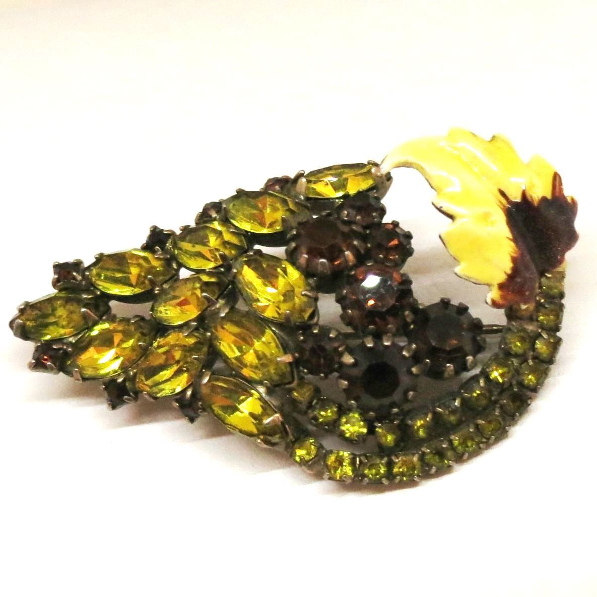 Yellow Rhinestone and Enamel Brooch - Juliana Style, Vintage, Gold Tone, Floral Pin by MyDellaWear on Etsy https://www.etsy.com/listing/218480765/yellow-rhinestone-and-enamel-brooch
