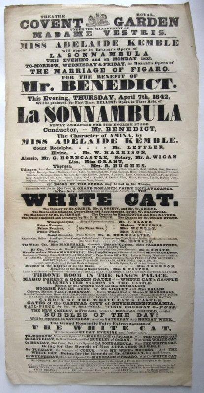Covent Garden 1842 Playbill - La Sonnambula