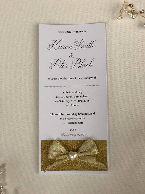 Handmade wedding invitations bow and glitter can be personalized handmade wedding invitations bow and glitter can be personalized laser printed on 250 gsm white premium quality card stock with white envelo stopboris Gallery