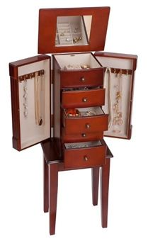 Walnut Floor Standing Jewelry Box Armoire Standing Jewelry Box