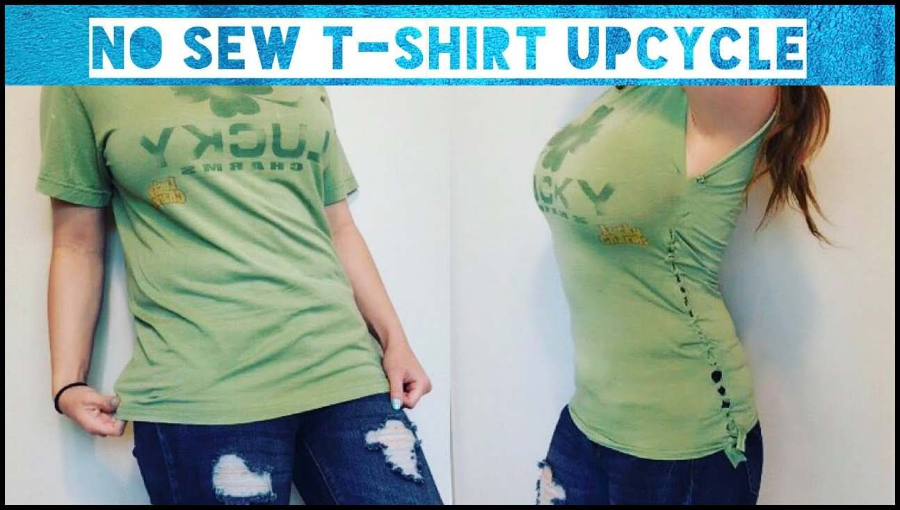 NO SEW T-shirt Upcycle - YouTube | Upcycle shirt, Sewing ...