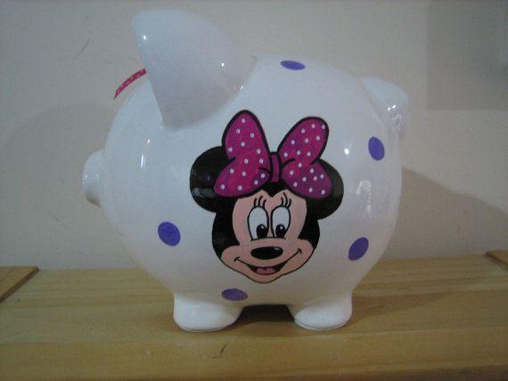 Personalized Jumbo Piggy Bank Disney Minnie Mouse Mickey