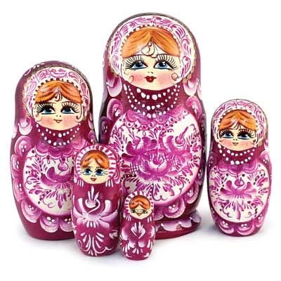 Purple Headscarf Matryoshka Russian Nesting Dolls Babushka Wooden Set 7 Pcs