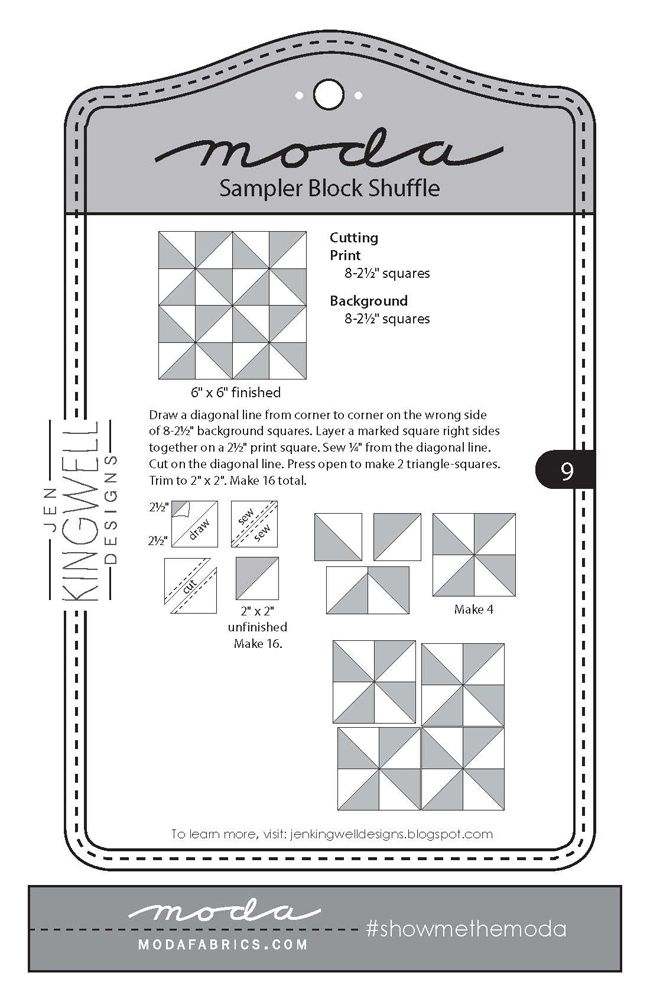 Fort Worth Fabric Studio: Moda Sampler Block Shuffle {Block 9}